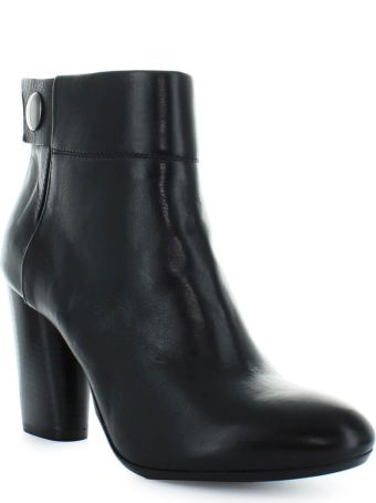 Fiori Francesi Black Leather Ankle Boots With Button
