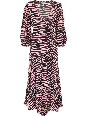 Ganni Zebra Wrap Dress