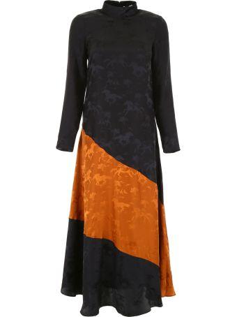Ganni Bicolor Silk Dress