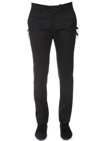 Les Hommes Black Wool Hooked Pants