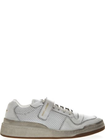 Saint Laurent Sl24 White Leather Used Look Sneakers