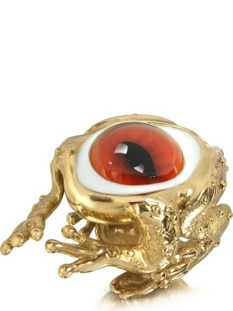 Bernard Delettrez Bronze Frog Ring With Eye