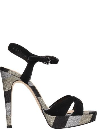 Bibi Lou Black-silver Suede Sandals