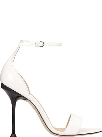 Sergio Rossi White Patent Leather Sandals