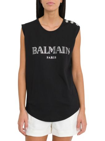 Balmain Logoed Top With Thrre Buttons On Shoulder