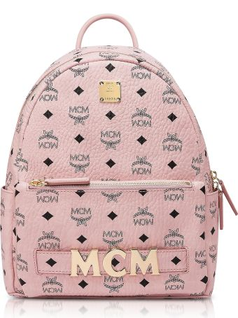 MCM Pink Visetos Trilogie Stark Backpack