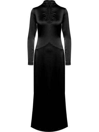 Cedric Charlier High-neck Satin Long Dress