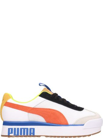 Puma White Leather Roma Amour Sneakers