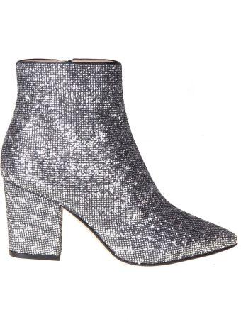 Sergio Rossi Steel Color Glitter Fabric Ankle Boot