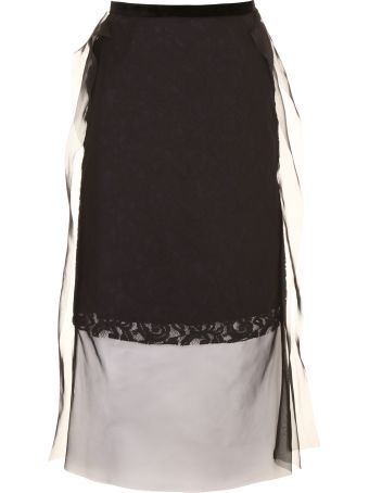 Sacai Lace And Voile Skirt