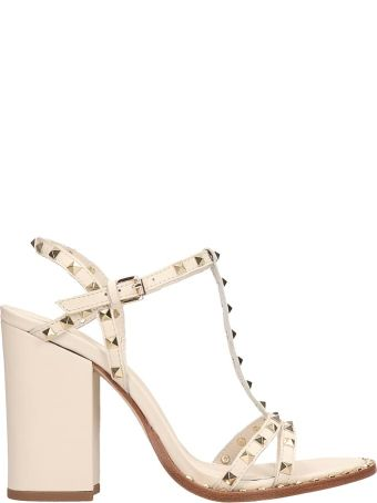 Ash White Leather Lips Sandals
