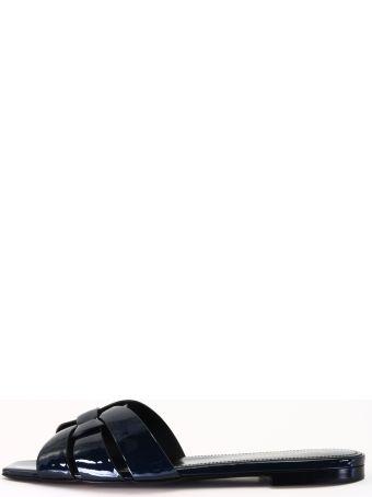Saint Laurent Flat Sandals Tribute Blue