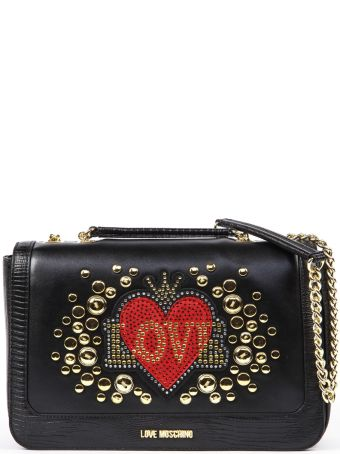 Love Moschino Love Black Faux Leather Shoulder Bag