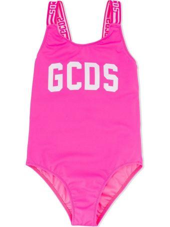 GCDS Fuchsia Logo-print Swimsuit