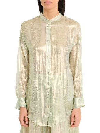 Forte_Forte Silk Chiffon Henley Shirt With Uderwater Love Print