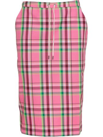 Essentiel Antwerp Orange Plaid Straight Skirt In Pink