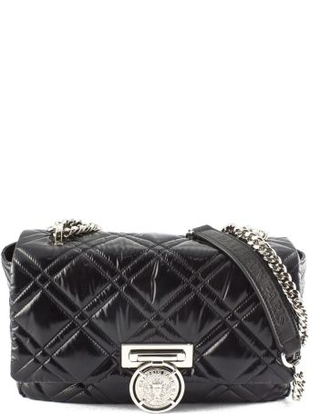 Balmain Quilted Shoulder Bag In Black Leather.