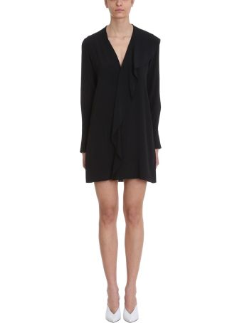 Mauro Grifoni Ruffles Black Viscose Dress