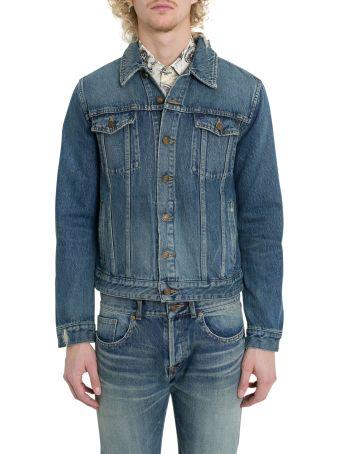 Saint Laurent Bandana Distressed Denim Jacket