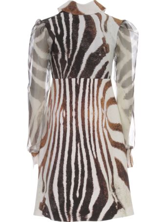 La Petit Robe Di Chiara Boni Printed Dress Voille Sleeve V Neck