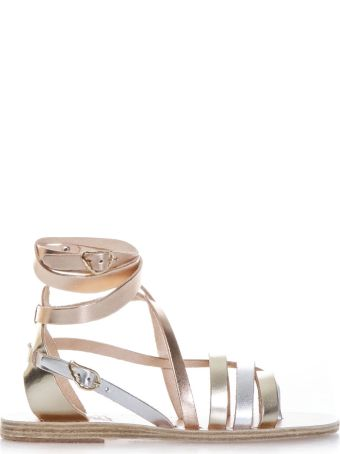 Ancient Greek Sandals Satira Metallic Leather Sandals