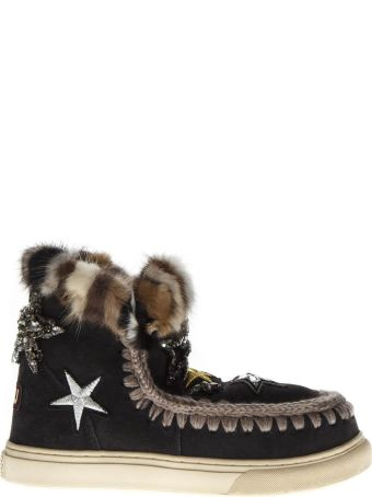 Mou Black Mink Fur And Patches Stars Sneaker Boots