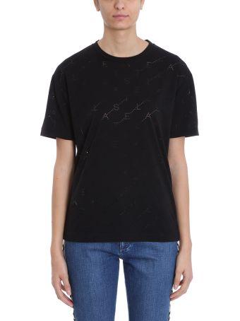 Stella McCartney Perforated Logo Black Cotton T-shirt
