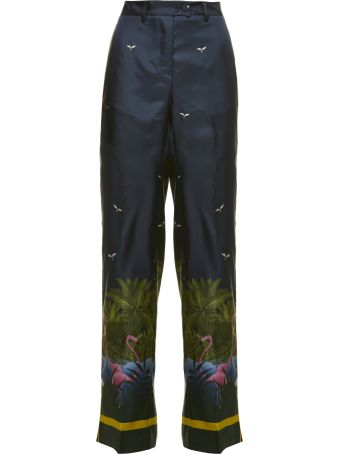 For Restless Sleepers Zelos Trousers From F.r.s For Restless Sleepers: Multicolor Zelos Trousers With Belt Loops, Flared Style, Sky And Landscape Print, Button And Zip Fly