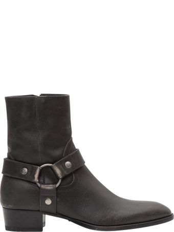 Saint Laurent Wyatt Harness Boots In Stone-washed Leather