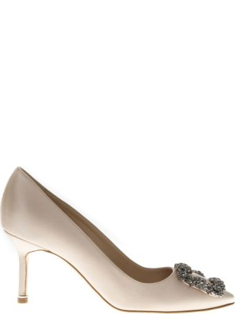 Manolo Blahnik Lanza Nude Satin Pumps