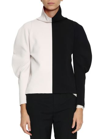 Haider Ackermann Onyx And Ivory Turtleneck Top