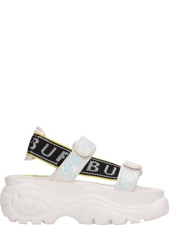 Buffalo White Glitter Leather Ella Sandals