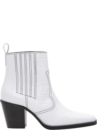 Ganni Callie Ankle Boot Cocco Print Leather