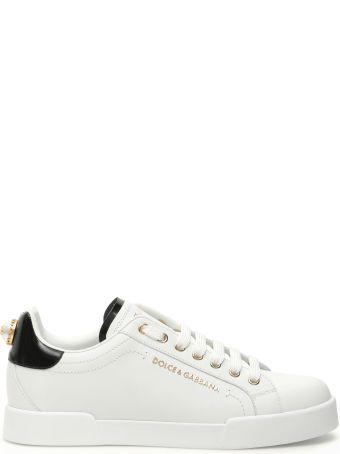 Dolce & Gabbana Portofino Leather Sneakers Dg Pearl