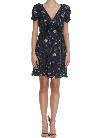 self-portrait Star Satin Printed Mini Dress