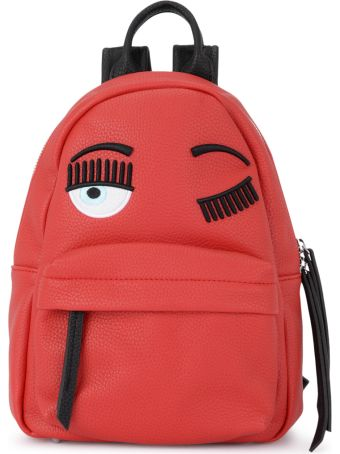 Chiara Ferragni Flirting Small Red Faux Leather Backpack