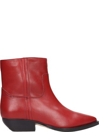 The Seller Red Leather Texan Ankle Boots