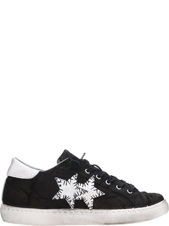 2Star Low Black Leather Sneakers