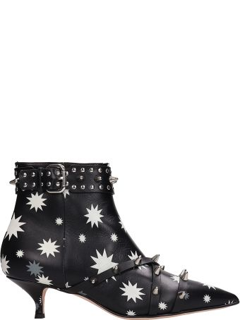 RED Valentino Bootie Black White Printed Leather