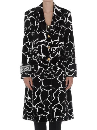 Versace Eco Fur Coat With Giraffe Motif