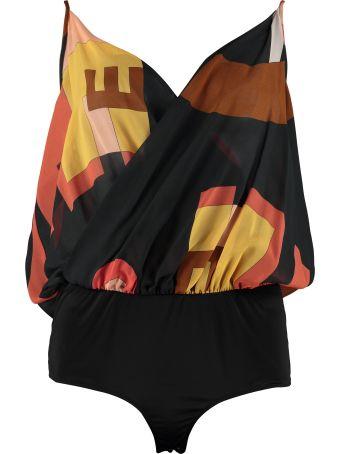 L'Autre Chose Printed Silk Bodysuit