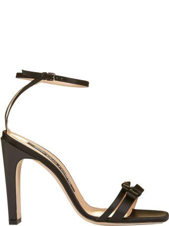 Sergio Rossi Satin Ankle Strap Sandals