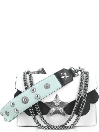 Les Jeunes Etoiles White Black And Light Blue Leather Vega Medium Shoulder Bag