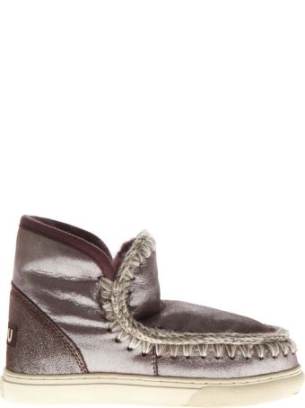 Mou Eskimo Laminated Wine Wool & Leather Sneakers Boots
