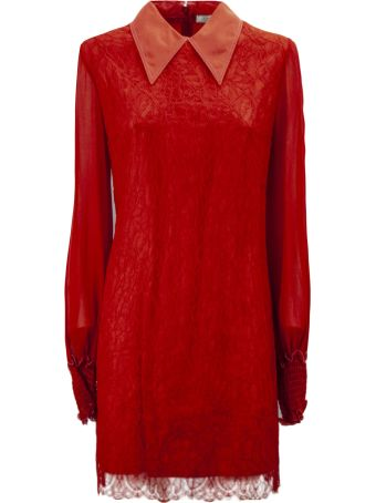 Nina Ricci Long Dress In Red Fabric And Lace.