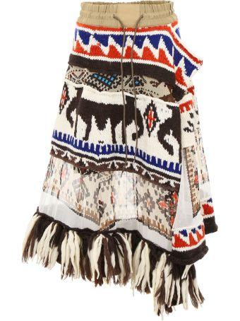 Sacai Aztec Skirt With Fringes