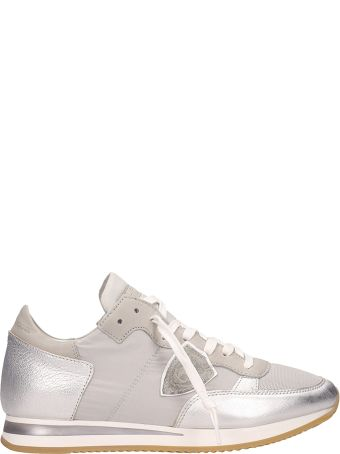Philippe Model Tropez Metal Silver Suede Sneakers