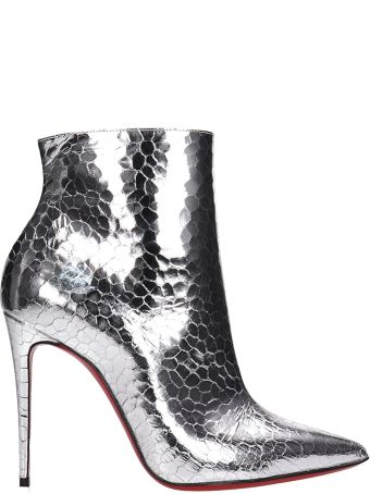 Christian Louboutin Silver Patent Leather So Kate Ankle Boots