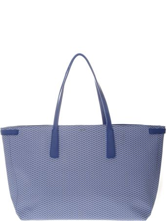 Zanellato Tote Duo Grand Tour Bag In Light Blue Resined Canvas