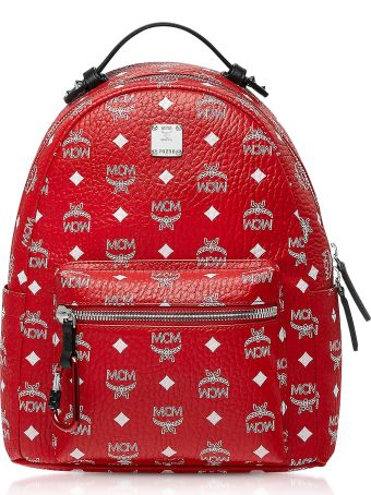 MCM Viva Red Stark Backpack W/white Logo Visetos 32